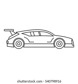 Racing car icon. Outline illustration of racing car vector icon for web