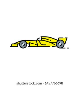Racing car line icon. Motor sport vehicle symbol. Yellow race car sign. Vector illustration.