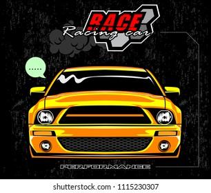 Racing car logo on black background