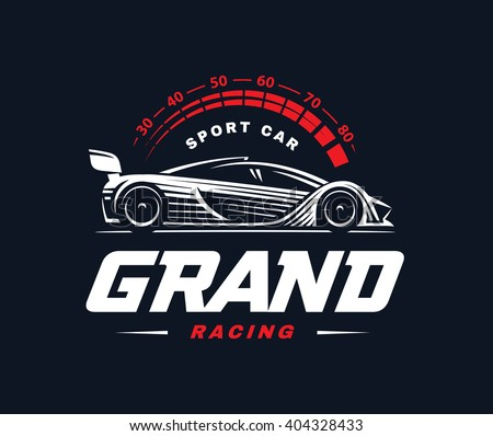 Racing Car Logo On Dark Background Stock Vector Royalty Free