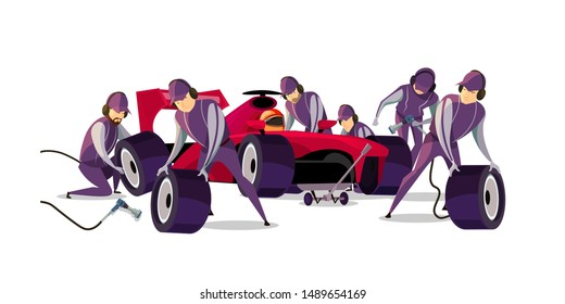 Racing car on pit stop flat vector illustration. Professional mechanics and racer cartoon characters. Engineers team in uniform changing wheels, tires. Auto maintenance service, quick repair