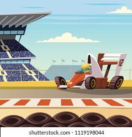 Racing car on racetrack