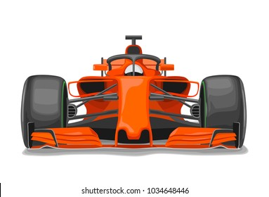 Racing Car With Protection Front View Vector Flat Color Illustration Isolated On White Background