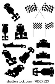 Racing Car Silhouette Set
