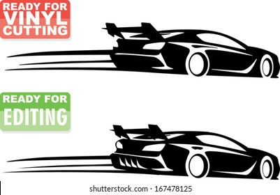 racing car silhouette with speed lines