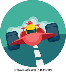 Racing car. Vector flat icon