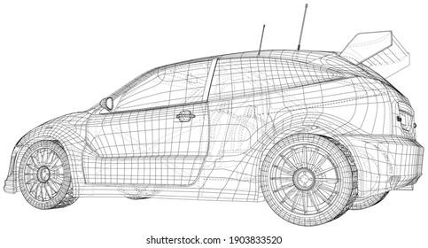 Rennwagen mit Drahtrahmen. Die Schichten sichtbarer und unsichtbarer Linien sind getrennt. EPS10-Format.