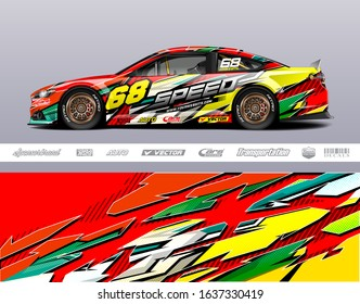 Racing car wrap decal graphic vector kit. Abstract stripe racing background designs for vinyl wrap race car, cargo van, pickup truck, adventure vehicle. Eps 10