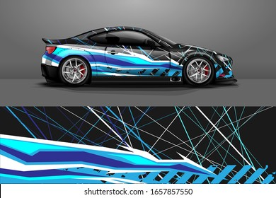 Racing car wrap decal illustration. Abstract stripe racing background kit for wrapping all vehicle