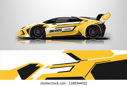 Racing car wrap. wrap design for racing car event.