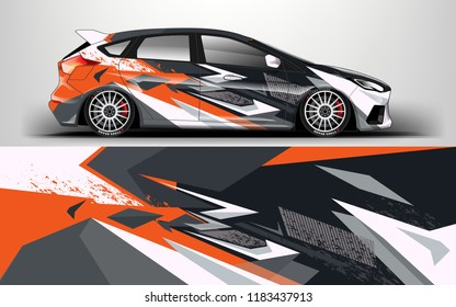Racing car wrap design. sedan hatchback wrap design. abstract background with  vector.