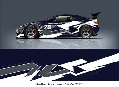 Racing car wrap design. sedan hatchback and sport car wrap design. abstract background with vector.