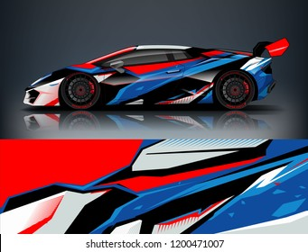 Racing car wrap design. Sport car. abstract background with vector.
