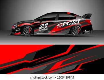 Racing car wrap design vector. Graphic abstract stripe racing background kit designs for wrap vehicle, race car, rally, adventure and livery