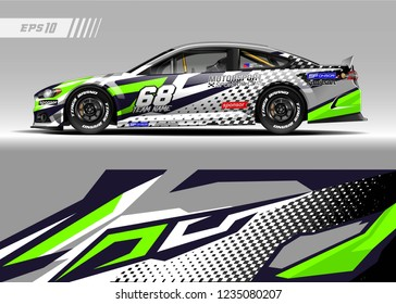 Racing car wrap design vector. Graphic abstract stripe racing background kit designs for wrap vehicle, race car, adventure and livery