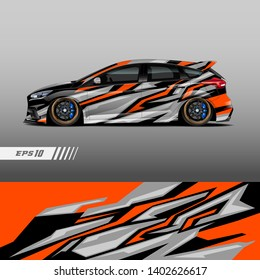Racing car wrap design vector. Graphic abstract stripe racing background kit designs.