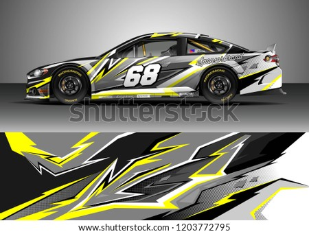 f81ce49ab3 Racing car wrap design vector. Graphic abstract stripe racing background  kit designs for wrap vehicle