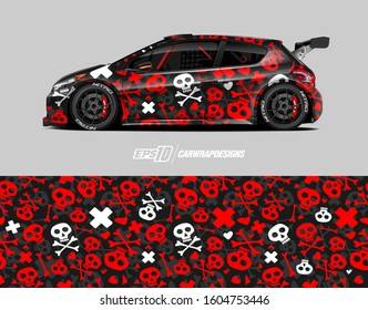 Racing car wrap skull design vector. Graphic abstract stripe racing background kit designs for wrap vehicle, race car, rally, adventure and livery. Full vector eps 10