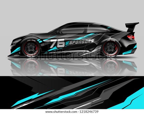 Racing Car Wrap Sport Car Livery Stock Vector (Royalty Free