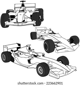 Racing Cars - Black Outline Illustrations, Vector