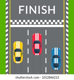 Racing cars crossing the finish line on the rally track. Top view. Car race banner. Vector illustration.