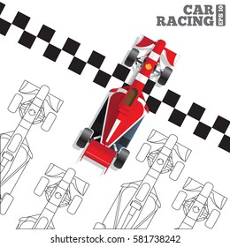 Racing Cars At The Finish Line View From Above Vector Illustration