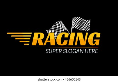 Racing Championship vector icon. Race logo fast concept with flag. Sport competition branding.
