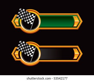 racing checkered flag green and black arrows