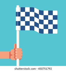 Racing checkered flag in hand umpire. Sport competitions. Referee signal. Start and finish. Simple vector flat illustration