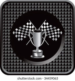 racing checkered flag and trophy on interesting web button
