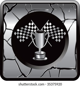 racing checkered flags and trophy on interesting web button