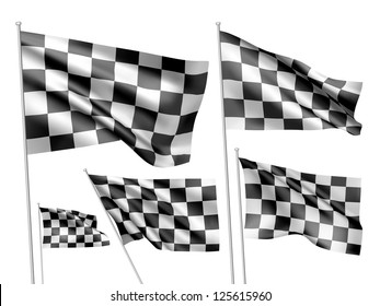Racing checkered vector flags. A set of 5 wavy 3D flags created using gradient meshes