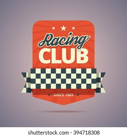Racing club badge. Vintage colors with stars, rays, ribbon and finish flag. Vector illustration in flat style for print or web.