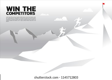 racing competition of businessman running on mountain. concept of business competitor.