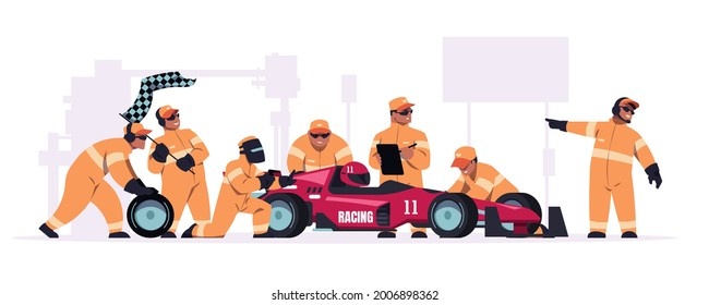 Racing crew. Cartoon pit stop team in uniform working on race car. Mechanic workers changing wheels of bolide. Maintenance technicians and engineers. Automobile repair. Vector illustration