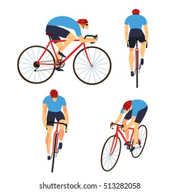 Racing cyclist in action set. Fast road biker from side, front, back and three quarter view. Editable vector illustration.