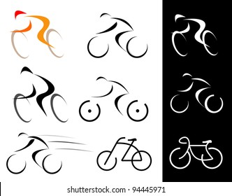 Racing cyclist. Bicyclist. Set of isolated vector icons. Line art, line work.