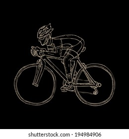 Racing cyclist. Doodle. Vector