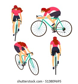 Racing cyclist woman in action set. Fast road lady biker from side, front, back and three quarter view. Editable vector illustration.