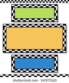 Racing design elements / checkered frames, border vector