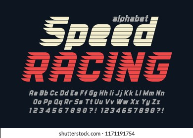 Racing display font design, alphabet, typeface, letters and numbers. Vector characters