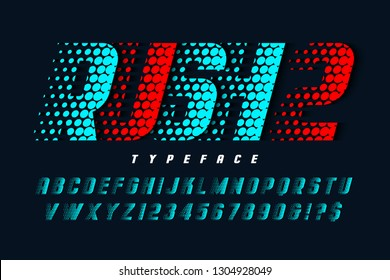Racing display font design, alphabet, typeface, letters and numbers. Swatch color control