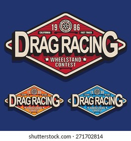 Racing dragster typography, t-shirt graphics, vectors