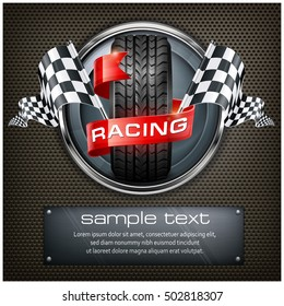 Racing emblem. Rubber wheel. Crossed checkered flags and red ribbon in metallic round on black. Vector illustration