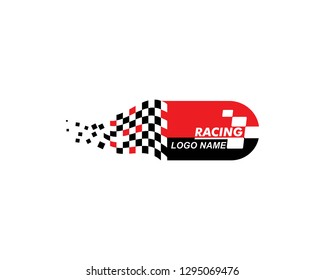racing flag of automotive icon illustration vector template