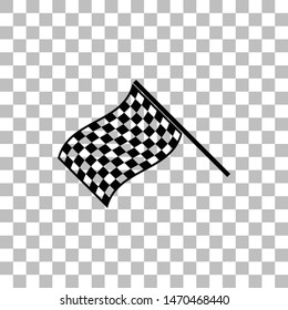 Racing Flag. Black flat icon on a transparent background. Pictogram for your project
