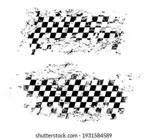 Racing flag grunge design of vector car race sport, auto rally and motocross. Checkered pattern of start and finish motorsport flag, black and white squares old texture with scratches