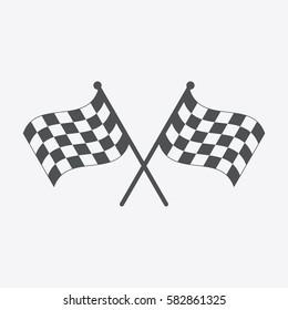 Racing flag icon. Black and white checkered flag. Vector illustration.