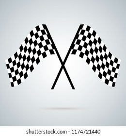 Racing flag icon. Crossed black and white checkered flags.Finish symbol. Flat illustration. Rally Flag Icon