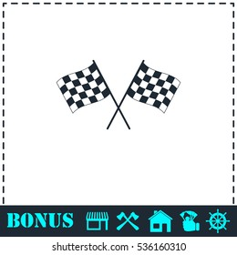 Racing flag icon flat. Simple vector symbol and bonus icon